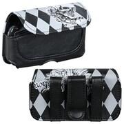 Insten® Horizontal Pouch Carry Case Belt Clip, Black/White Winged Skull Diamond Roller