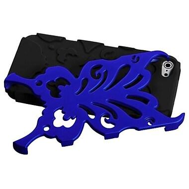 Insten® Butterflykiss Hybrid Phone Protector Cover F/iPhone 5/5S, Titanium Dark Blue/Black