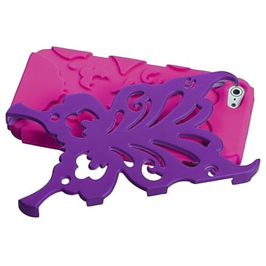 Insten® Butterflykiss Hybrid Rubberized Phone Protector Cover F/iPhone 5/5S, Grape/Hot-Pink
