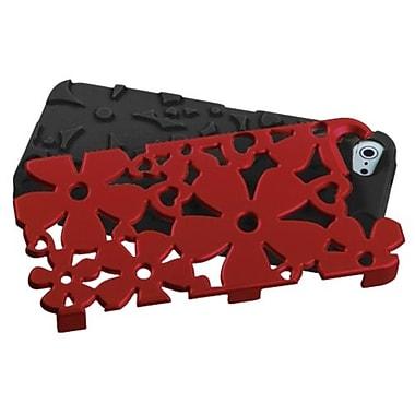 Insten® FlowerPower Hybrid Phone Protector Cover F/iPhone 5/5S, Titanium Red/Black
