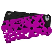 Insten® FlowerPower Hybrid Protector Cover For iPod Touch 5th Gen, Titanium Solid Hot-Pink/Black