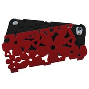 Insten® FlowerPower Hybrid Protector Cover For iPod Touch 5th Gen, Titanium Red/Black
