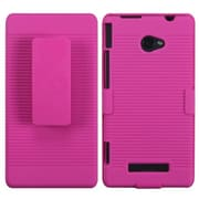 Insten® Hybrid Holster For HTC 6990LVW/Windows 8X/Windows Phone 8X, Hot-Pink