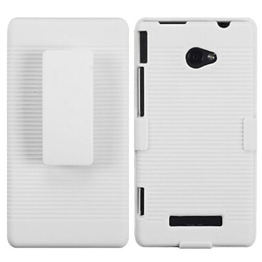 Insten® Hybrid Holster For HTC 6990LVW/Windows 8X/Windows Phone 8X, Solid Ivory White