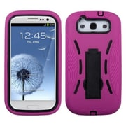 Insten® Symbiosis Stand Protector Cover For Samsung Galaxy SIII, Black/Hot-Pink