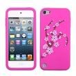Insten® Pastel Skin Cover For iPod Touch 5th Gen, Spring Flowers/Hot-Pink