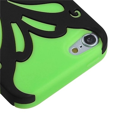Insten® Butterflykiss Hybrid Protector Cover For iPod Touch 5th Gen, Black/Electric Green