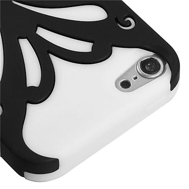 Insten® Butterflykiss Hybrid Protector Cover For iPod Touch 5th Gen, Black/Solid White