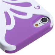 Insten® Butterflykiss Hybrid Protector Cover For iPod Touch 5th Gen, Ivory White/Electric Purple