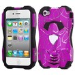 Insten® Car Pattern Hybrid Protector Cover For iPhone 4/4S, d Lines Hot-Pink/Black