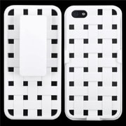 Insten® Hybrid Rubberized Weave Texture Holster F/iPhone 5/5S, Solid Ivory White