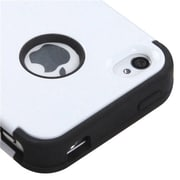 Insten® TUFF Hybrid Phone Protector Cover F/iPhone 4/4S, Ivory White/Black