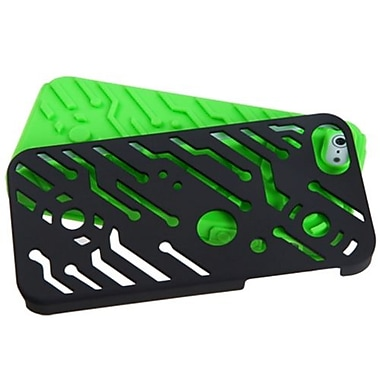 Insten® Circuitboard Hybrid Rubberized Phone Protector Cover F/iPhone 5/5S, Black/Electric Green