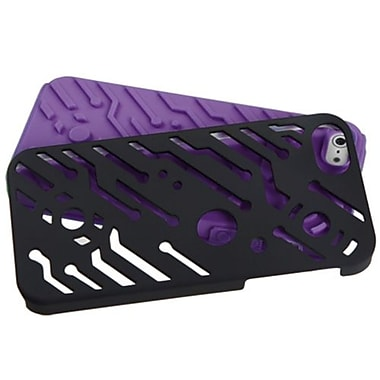 Insten® Circuitboard Hybrid Rubberized Phone Protector Cover F/iPhone 5/5S, Black/Electric Purple