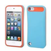Insten® Rubberized Card Wallet Back Protector Cover For iPod Touch 5th Gen, Baby Blue/Orange