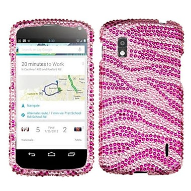 Insten® Diamante Protector Cover For LG E960 Nexus 4, Pink/Hot-Pink Zebra