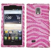 Insten® Diamante Protector Cover For LG VS930 Spectrum 2, Pink/Hot-Pink Zebra