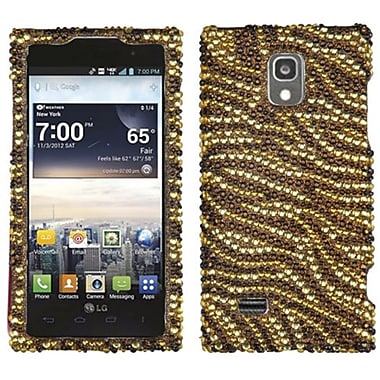 Insten® Diamante Protector Cover For LG VS930 Spectrum 2, Brown Tiger/Camel