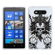 Insten® Candy Skin Cover For Nokia 820, Skull Fury/White