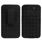 Insten® Rubberized Hybrid Holster For Samsung Galaxy Note II, Black Weave Texture