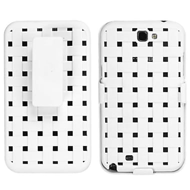 Insten® Rubberized Hybrid Holster For Samsung Galaxy Note II, Solid Ivory White Weave Texture