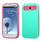 Insten® Rubberized Back Protector Cover W/Card Wallet For Samsung Galaxy SIII, Teal Green/Hot-Pink
