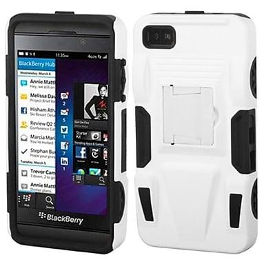 Insten® Rubberized Advanced Armor Stand Protector Cover For BlackBerry Z10, White/Black