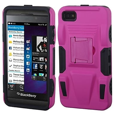 Insten® Rubberized Advanced Armor Stand Protector Cover For BlackBerry Z10, Hot-Pink/Black