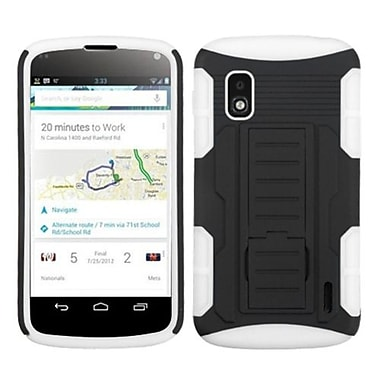 Insten® Car Armor Stand Protector Cover For LG E960 Nexus 4, Black/White