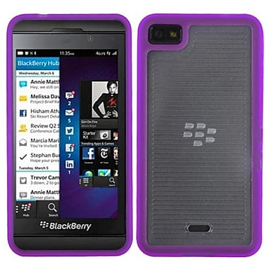 Insten® Gummy Case For BlackBerry Z10, Transparent Clear/Solid Purple Horizontal Stripes