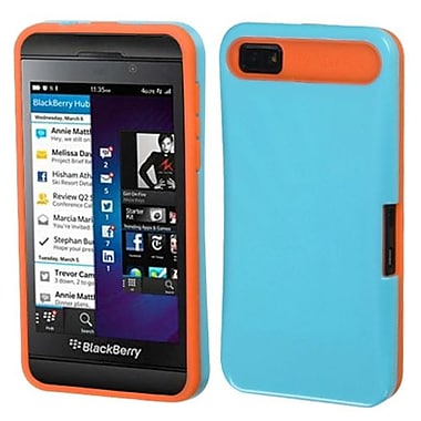 Insten® Card Wallet Back Protector Cover For BlackBerry Z10, Baby Blue/Orange