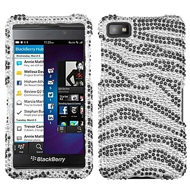 Insten® Diamante Protector Case For BlackBerry Z10, Black Zebra Skin