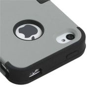 Insten® TUFF Hybrid Rubberized Phone Protector Cover F/iPhone 4/4S, Gray/Black