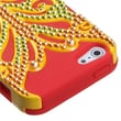 Insten® Butterflykiss Hybrid Phone Protector Cover W/Diamonds F/iPhone 5/5S, Solid Pearl Yellow/Red