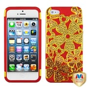 Insten® FlowerPower Hybrid Phone Protector Cover W/Diamonds F/iPhone 5/5S, Solid Pearl Yellow/Red