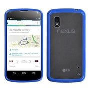 Insten® Gummy Cover For LG E960 Nexus 4, Transparent Clear/Dark Blue
