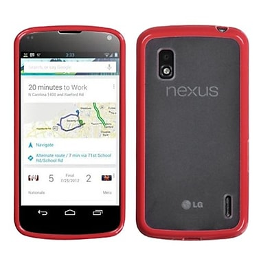 Insten® Gummy Cover For LG E960 Nexus 4, Transparent Clear/Solid Red