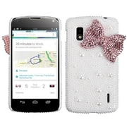 Insten® Diamante Back Protector Cover For LG E960 Nexus 4, Pink Bow Pearl 3D