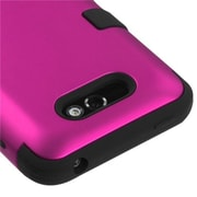 Insten® TUFF Hybrid Phone Protector Cover For LG MS770, Titanium Solid Hot-Pink/Black