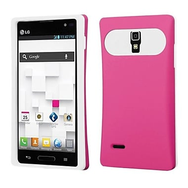 Insten® Back Protector Cover For LG P769, Hot-Pink/White