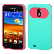 Insten® Rubberized Back Protector Cover For Samsung D710, R760, Galaxy S II 4G, Teal Green/Hot-Pink