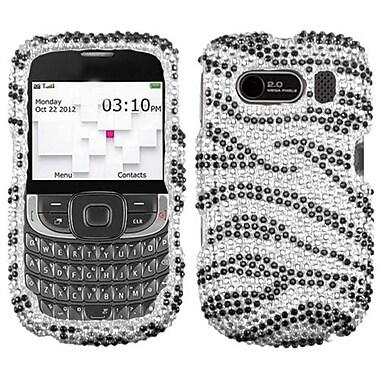 Insten® Diamante Protector Cover For ZTE F555 Aspect, Black Zebra