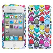 Insten® Phone Protector Cover F/iPhone 4/4S, Colorful Flower Buds/White