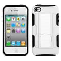 Insten® Rubberized Protector Cover W/Car Armor Stand For iPhone 4/4S, White/Black