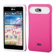 Insten® Back Protector Cover For LG MS870 Spirit 4G, Hot-Pink/White