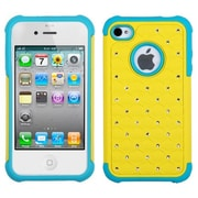 Insten® Luxurious Lattice Dazzling TotalDefense Protector Cover F/iPhone 4/4S, Yellow/Tropical Teal