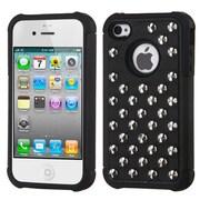 Insten® Lattice Dazzling TotalDefense Rubberized Protector Cover F/iPhone 4/4S, Black Silver Studs