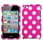 Insten® Phone Protector Cover For iPod Touch 4th Gen, Polka Dots White/Hot-Pink