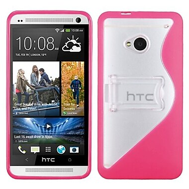 Insten® Gummy Cover For HTC-One/M7, Transparent Clear/Solid Hot-Pink