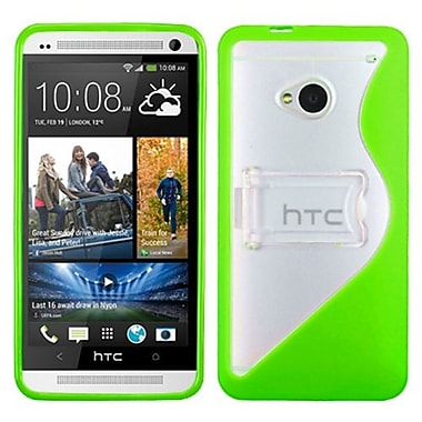 Insten® Gummy Cover For HTC-One/M7, Transparent Clear/Solid Green